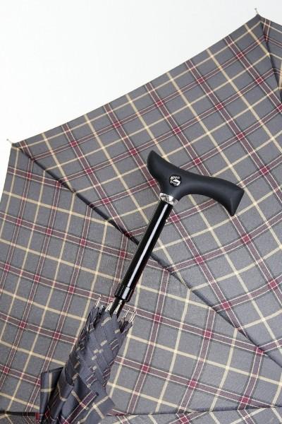 Regenschirm Stützschirm Stepbrella Karo grau bordeaux