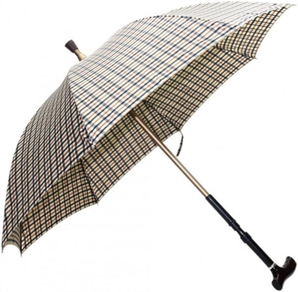 Gehstock-Schirm beige Karo