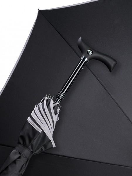 Regenschirm Stützschirm Stepbrella schwarz mit grauem Rand